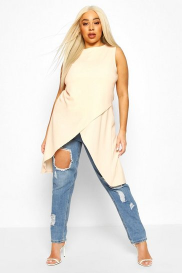 Blush Plus Sleeveless Cross Over Hem Top