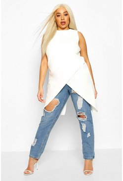 Ivory Plus Sleeveless Cross Over Hem Top