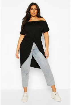 Black Plus Off The Shoulder Twist Maxi Top