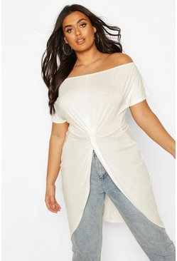 Ivory Plus Off The Shoulder Twist Maxi Top