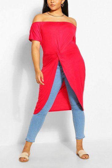 Red Plus Off The Shoulder Twist Maxi Top