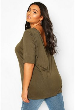 Khaki Plus Basic V Back Oversized T-shirt