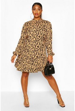 Tan Plus Leopard Print High Neck Smock Dress