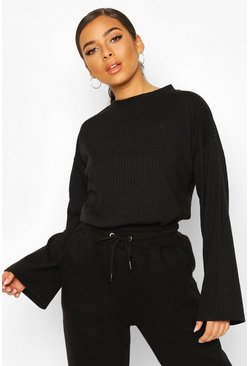 Black Petite Soft Ribbed Oversized Jumper