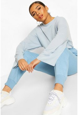 Blue Petite Soft Ribbed Oversized Jumper