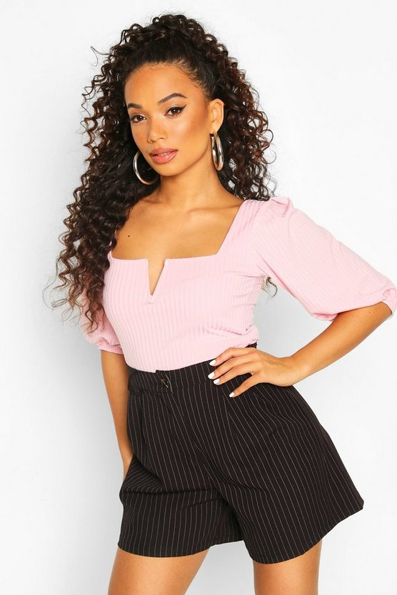 Pink Petite Ribbed V Neck Crop Top