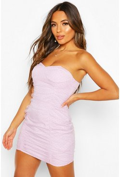 Lilac Petite Dot Mesh Bandeau Dress