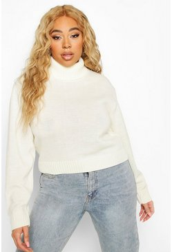 Cream Plus Roll Neck Crop Sweater