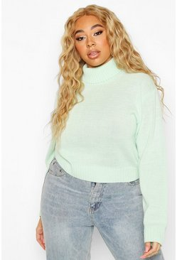 Pale green Plus Roll Neck Crop Jumper