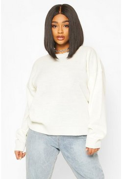 Cream Plus Boxy Crew Neck Sweater
