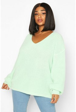 Pale green Plus Oversized V-neck Jumper