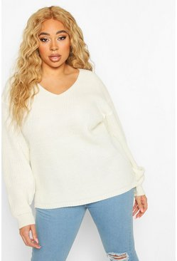 Cream Plus Oversized V-Neck Sweater