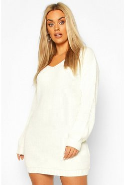 Cream Plus V-neck Jumper Mini Dress