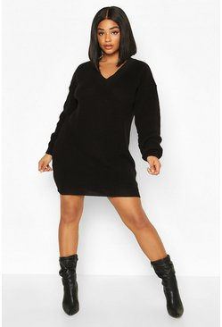 Black Plus Rib V-neck Jumper Dress
