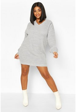 Grey Plus Rib V-Neck Sweater Dress