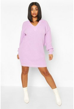 Plus Rib V-neck Jumper Dress, Lilac