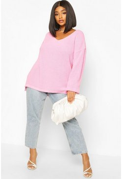 Pastel pink Plus Oversized V-neck Jumper