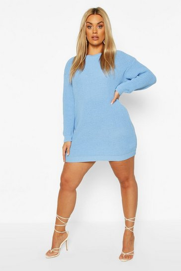 Pastel blue Plus Crew Neck Jumper Dress