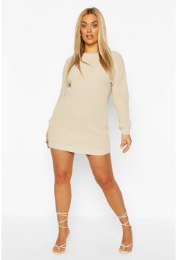 Stone Plus Crew Neck Jumper Dress