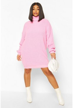Robe pull col roulé Plus, Rose