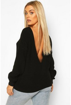 Black Plus V-Back Oversized Sweater