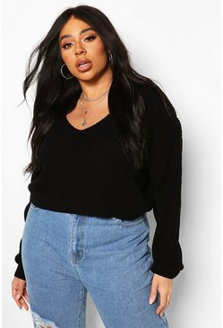 Black Plus V-Neck Fisherman Crop Sweater