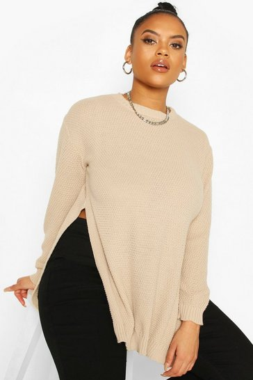 Cream Plus Side Split Moss Stitch Tunic Jumper
