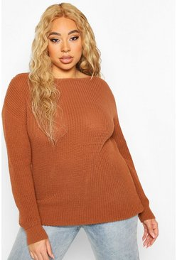 Hazelnut Plus Slash Neck Fisherman Jumper