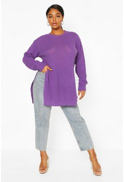 Orchid Plus Side Split Moss Stitch Sweater