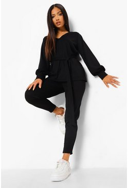 Black Petite Knitted Soft Rib Legging Co-Ord