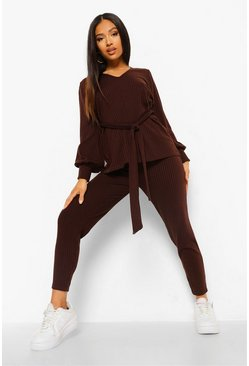 Brown Petite Knitted Soft Rib Legging Co-Ord