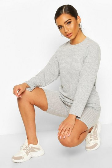 Grey Petite Knitted Soft Rib Cycle Short Co-Ord