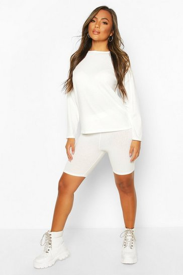 White Petite Knitted Soft Rib Cycle Short Co-Ord