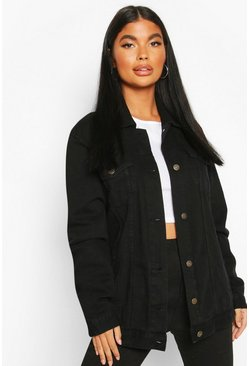 Black Petite Oversized Denim Jacket