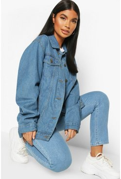 Blue Petite Oversized Denim Jacket