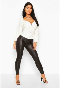 Petite Leggings im Wet-Look, Schwarz