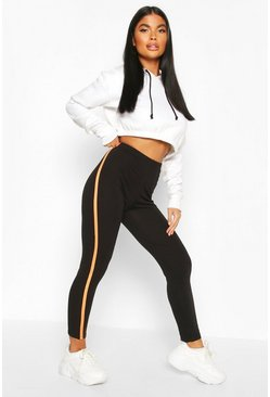 Black Petite Neon Side Stripe Leggings