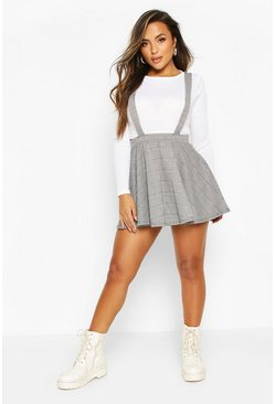 Black Petite Dogtooth Check Pinafore Skirt