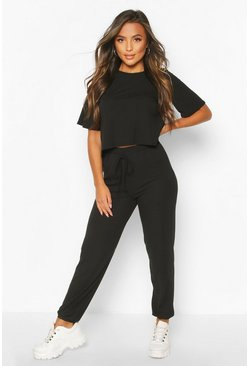 Black Petite Knitted Soft Rib T-Shirt & Jogger Set