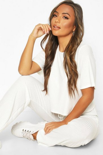 Ivory Petite Knitted Soft Rib T-Shirt & Jogger Set