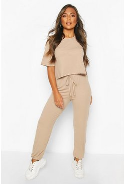 Sand Petite Knitted Soft Rib T-Shirt & Jogger Set