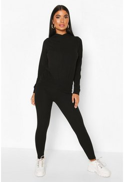Black Petite Knitted Soft Rib Hoody & Legging Co-Ord