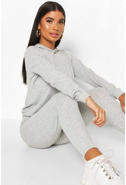 Grey Petite Knitted Soft Rib Hoody & Legging Co-Ord
