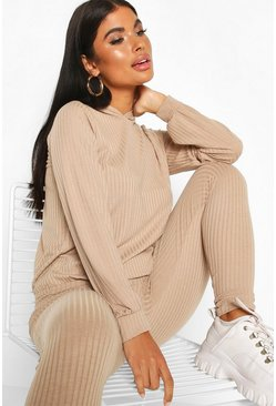 Sand Petite Knitted Soft Rib Hoody & Legging Co-Ord