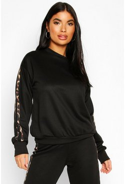 Black Petite Leopard Stripe Sweat Shirt