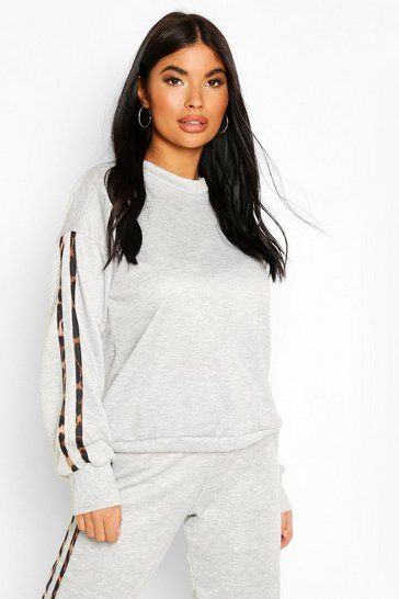 Grey Petite Leopard Stripe Sweat Shirt