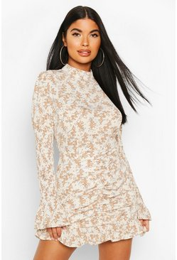 Cream Petite Floral Shirred Sleeve Ruffle Hem Dress