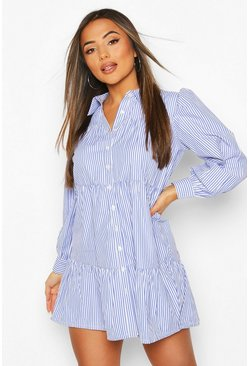 Blue Petite Stripe Smock Shirt Dress