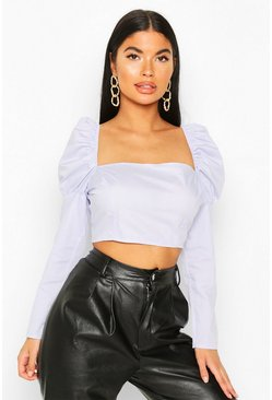 Lilac Petite Puff Shoulder Crop Top