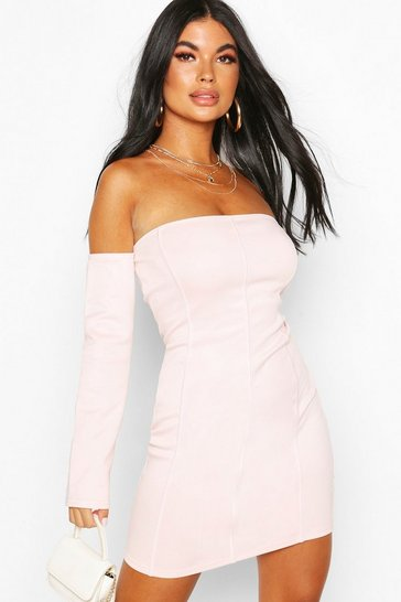 Light pink Petite Off Shoulder Bodycon Dress